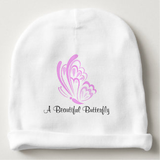 Pink Butterfly Embellishment Baby Beanie