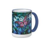 PINK BUTTERFLY ENJOYING BEAUTIFUL BLUE FLOWERS! COFFEE MUGS