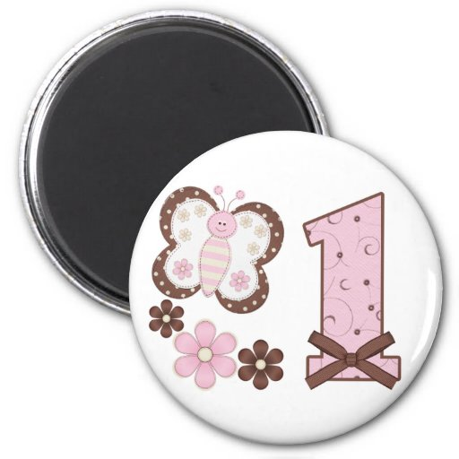 Pink Butterfly First Birthday 2 Inch Round Magnet