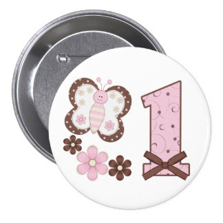 Pink Butterfly First Birthday Button
