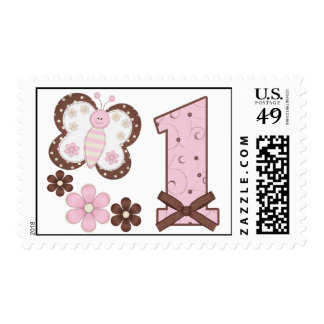 Pink Butterfly First Birthday Postage