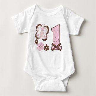 Pink Butterfly First Birthday Shirt