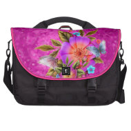 Pink Butterfly Floral Flowers Laptop Bag