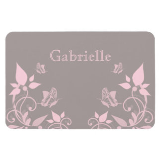 Pink Butterfly Floral Premium Magnet
