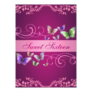 Pink Butterfly Floral Sweet16 Birthday Invite