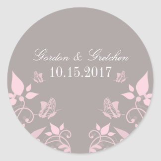 Pink Butterfly Floral Wedding Stickers