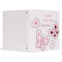 Pink Butterfly Flower Baby Photo Album Scrapbook Binder