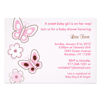 Pink Butterfly Flower Baby Shower Invitations
