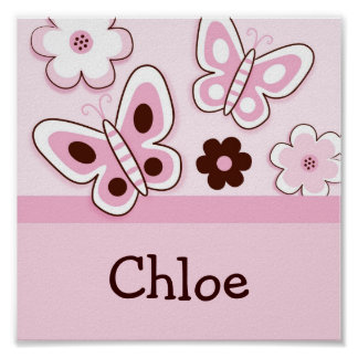 Pink Butterfly Flower Nursery Wall Art Name Print