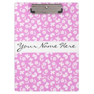 Pink Butterfly & Flower Pattern Clipboard
