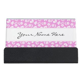 Pink Butterfly & Flower Pattern Desk Business Card Holder