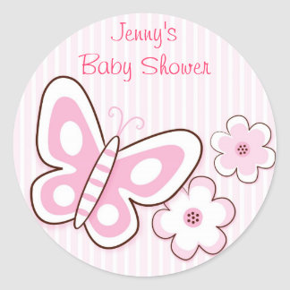 Pink Butterfly Flower Stickers Envelope Seals