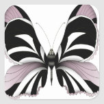 Pink Butterfly Forest Rose Orchid Square Sticker