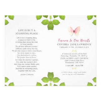 Pink Butterfly Funeral Memorial Service Program Flyer