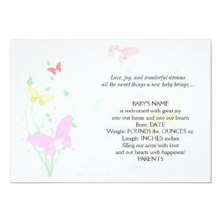 Pink Butterfly Garden Baby Announcement