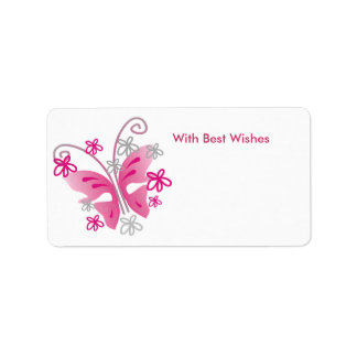 Pink Butterfly Gift Tags - Best wishes Address Label