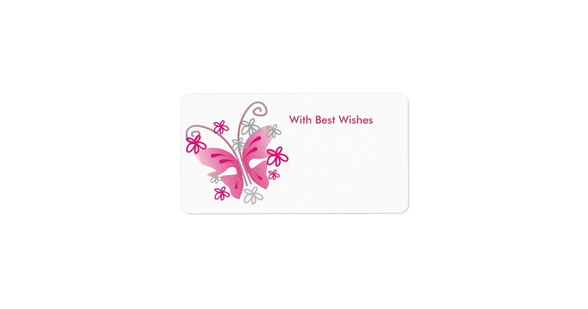 Pink Butterfly Gift Tags - Best wishes Label | Zazzle