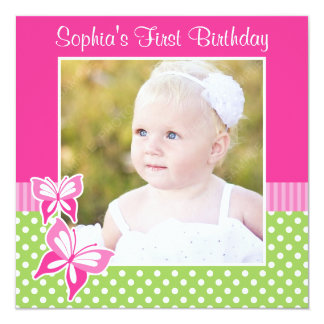 Pink Butterfly Green Polka Dot 1st Birthday Photo Card