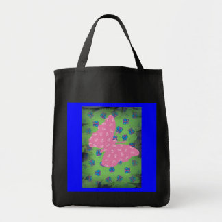 PINK  BUTTERFLY. GROCERY TOTE BAG