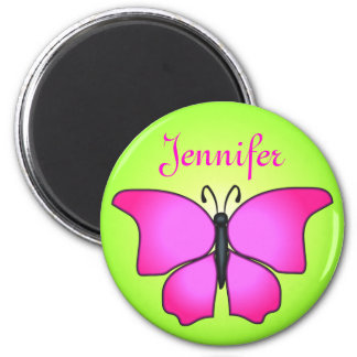Pink Butterfly Happy Colors Name Magnet