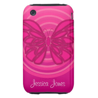 Pink butterfly iPhone 3G/3GS Case-Mate Tough iPhone 3 Cover