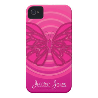Pink butterfly iPhone 4/4S Case