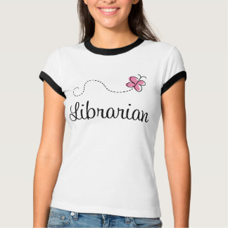 Pink Butterfly Librarian Library Ringer Tee Shirt