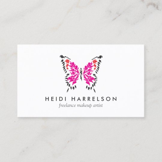 Pink butterfly logo ii for freelance makeup artist business card pink butterfly logo ii for freelance makeup artist business card colourmoves