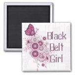 Pink Butterfly Martial Arts Black Belt Girl Magnet