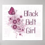 Pink Butterfly Martial Arts Black Belt Girl Poster