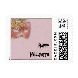 Pink Butterfly Mask Halloween Postage