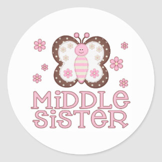 Pink Butterfly Middle Sister Classic Round Sticker
