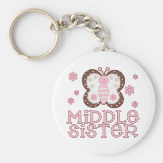 Pink Butterfly Middle Sister Key Chains