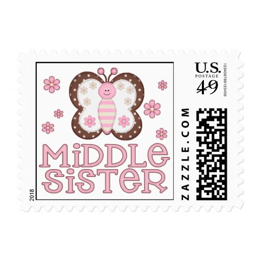 Pink Butterfly Middle Sister Postage Stamps