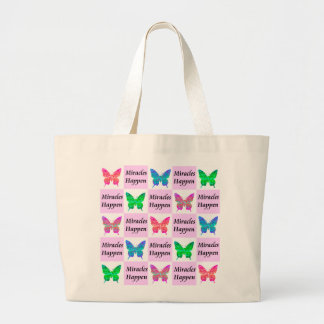 PINK BUTTERFLY MIRACLES HAPPEN DESIGN LARGE TOTE BAG
