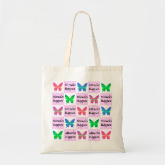 PINK BUTTERFLY MIRACLES HAPPEN DESIGN TOTE BAG