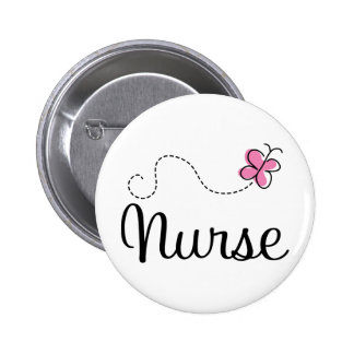 Pink Butterfly Nurse Gift Tee Pinback Buttons