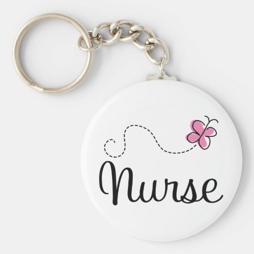 Pink Butterfly Nurse Gift Tee Key Chains