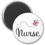Pink Butterfly Nurse Gift Tee Refrigerator Magnets