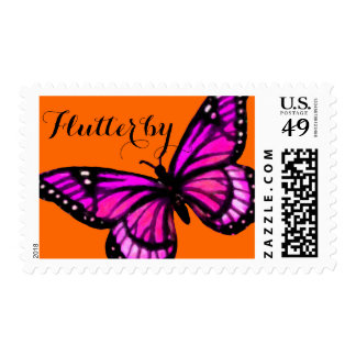 Pink Butterfly on Any Color Flutterby Postage
