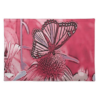 Pink Butterfly On Digital Flower Cloth Placemat