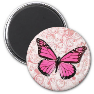 Pink Butterfly on Pink Flourish Magnet