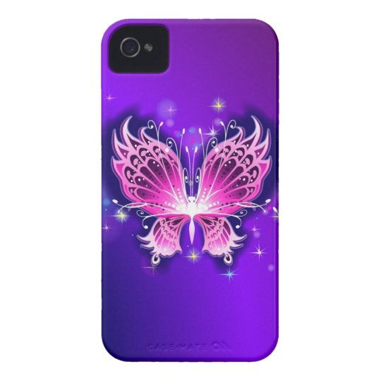 Pink Butterfly on Purple iPhone 4 Case