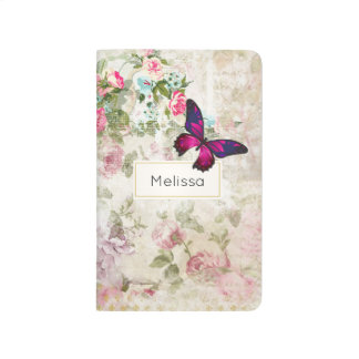 Pink Butterfly on Shabby Vintage Roses Journal