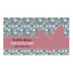 Pink butterfly on Vintage Floral Blue Pattern Business Card Template
