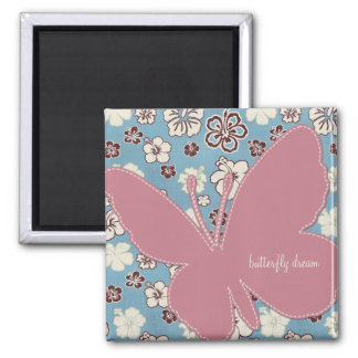 Pink Butterfly on Vintage Floral Blue Pattern 2 Inch Square Magnet