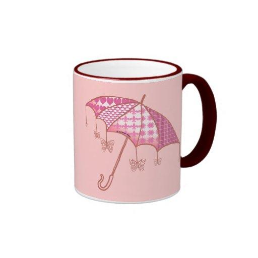 Pink Butterfly Parasol Coffee Mugs
