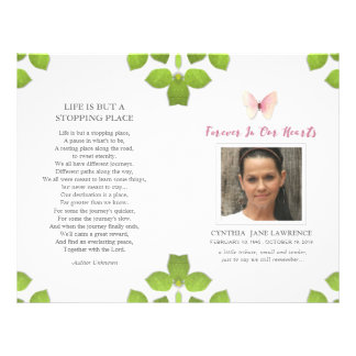 Pink Butterfly Photo Funeral Memorial Program Flyer