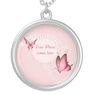 Pink Butterfly Photo Template Necklace