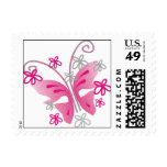 Pink Butterfly Postage Stamp